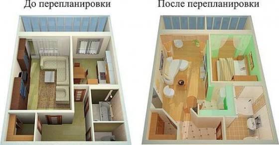 Ремонт и перепланировка квартиры сталинки – фото двух- и