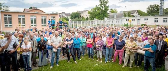 Протест людей против сноса дома
